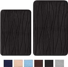Uphome Memory Foam Bath Mat Set of 2 Piece 17x26 + 20x31 inch Black Wave Striped Non-Slip Bathroom Rug Set Thick Flannel Absorbent Carpet Velvet Machine Washable Doormat Floor Rugs