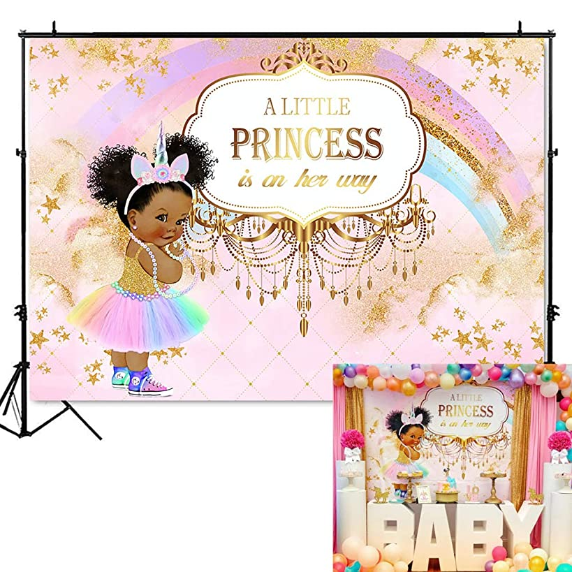 Mehofoto Unicorn Princess Baby Shower Backdrop Pink Rainbow Princess Photography Background 7x5ft Vinyl Unicorn Baby Shower Party Banner Decoration