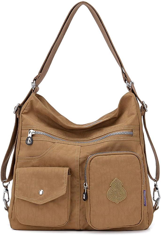 Outreo, borsa/zaino per donna, 100% nylon di cotone di alta qualità, impermeabile, marrone