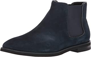 navy blue suede chelsea boots