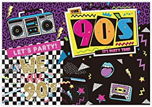 Allenjoy 7x5ft Fabric I Love The 90s House Party Backdrop for Hip Hop Rock Music Dance Disco Wall Colorful 90's Adult Birthday Event Banner Decorations Photo Booth Shoot Photography Wide Background