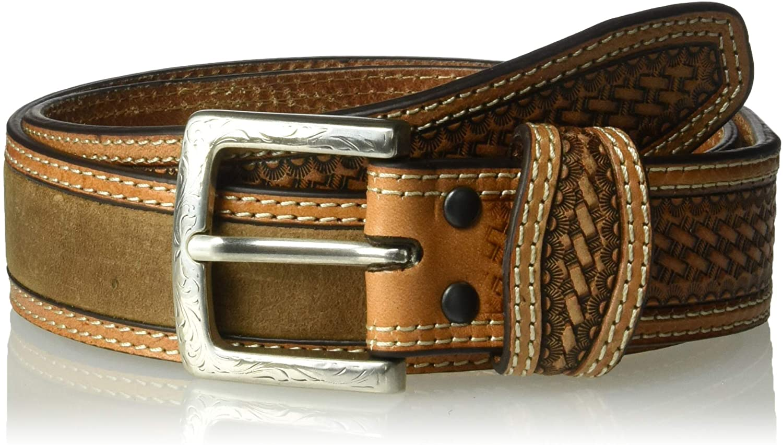 ARIAT Unisex-Adult's Basket Billet Double Stitch Edge Belt