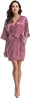 Women's Satin Kimono Robe, Solid Color, Short