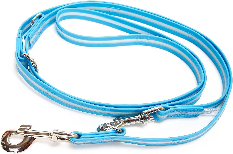 JuliusK9 216DPLAM IDC Lumino adjustable Dog Leash, Width  3 4 19mm Length 7' 2.2m, Aquamarine