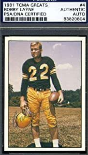 Bobby Layne 1981 Tcma Signed Certified Authentic Autograph - PSA/DNA Certified - Slabbed Football Cards