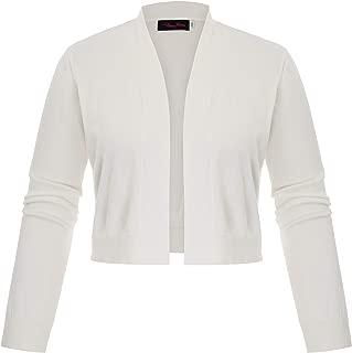 Hanna Nikole Womens Plus Size Long Sleeve Short Cardigan Open Front Knit Cropped Bolero Shrug