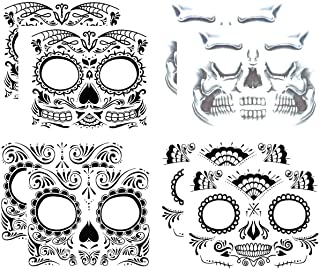 COKOHAPPY Day of the Dead, Skeleton Face Tattoo Sticker, 8 Sheets Sugar Skull, Red Roses Temporary Face Tattoo Halloween Makeup Kit for Men