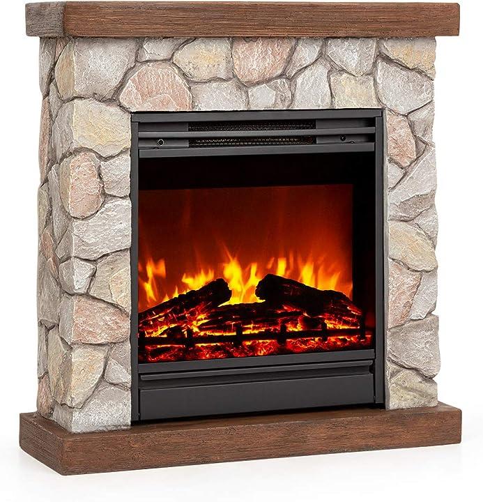 Caminetto elettrico klarstein lienz con effetto fiamma a led con 2 livelli calore: 900 o 1800 w FP6-1500-K-ST