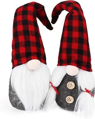 ABSOFINE Christmas Gnome Plush Swedish Gnomes Handmade Tomte Gnomes 12'' Xmas Table Decorations Scandinavian Santa Elf for Christmas Holiday Home Decor Gift, Plaid