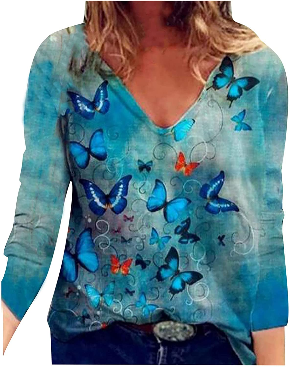 Womens Long Sleeve Tunic Tops V Neck T Shirts Color Butterfly Print Pullover Casual Comfy Tees Blouse