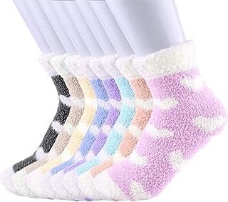 FEPITO, 8 pares de calcetines de cama borrosos para mujer, calcetines cómodos y esponjosos de invierno, calcetines deslizantes para mujer