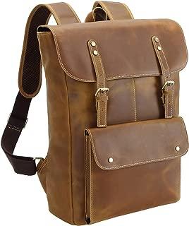 Polare Vintage Full Grain Leather College Bag School Bookbag Backpack Travel Rucksack Brown Light Brown Large
