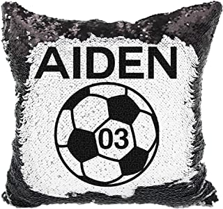 Soccer Sequin Pillow, Personalized Soccer Ball with Numbers Reversible Sequin Pillow (Black/White)