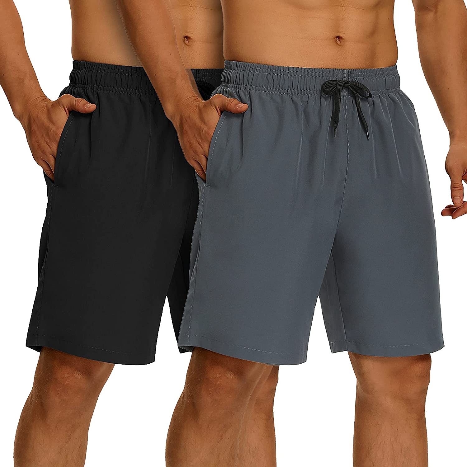 H Hellisal Mens High quality 2 Tulsa Mall Pack Workout 8'' Shorts Athletic Loose-Fit Run