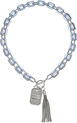 GUESS Resin Link Toggle Necklace with Charm and Tassel