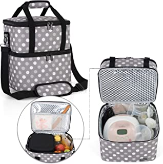 Luxja Breast Pump Bag with 2 Insulated Compartments for Breast Pump and Cooler Bag, Pumping Bag for Working Mothers (Fits Most Major Breast Pump), Gray Dots