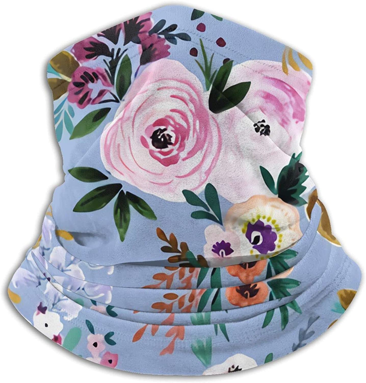 Victoria Floral Periwinkle Bandanas Neck Gaiter Face Mask Scarf Face Shield Black