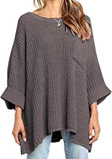 KIRUNDO Women's Winter Long Knitted Sweater Dress Off Shoulder Long Sleeves Oversized Loose Solid Color Pullover
