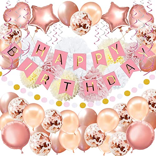 "59Pack Birthday Party Decorations Rose Gold Birthday Banner Birthday Decorations for Girls and Women Including ""HAPPY BIRTHDAY"" Banner Foil Balloons Paper Pom Poms Confetti Balloon Party Supplies"