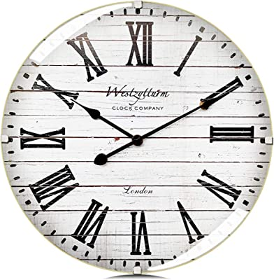 Westzytturm White Vintage Wall Clock Wooden Frame Curved Glass Roman Numeral Silent Movement Rustic Farmhouse Decorative Large Wall Clocks for Living Room,Mantel,Bedrooms,Kitchen,Office(20 inch)