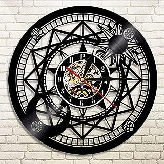 WANGXJ Jupiter Wall Clock Vinyl Home Decor Sun and Moon Retro Star Vinyl Record Clock Cosmographical Clock Astrology Gifts 30X30Cm