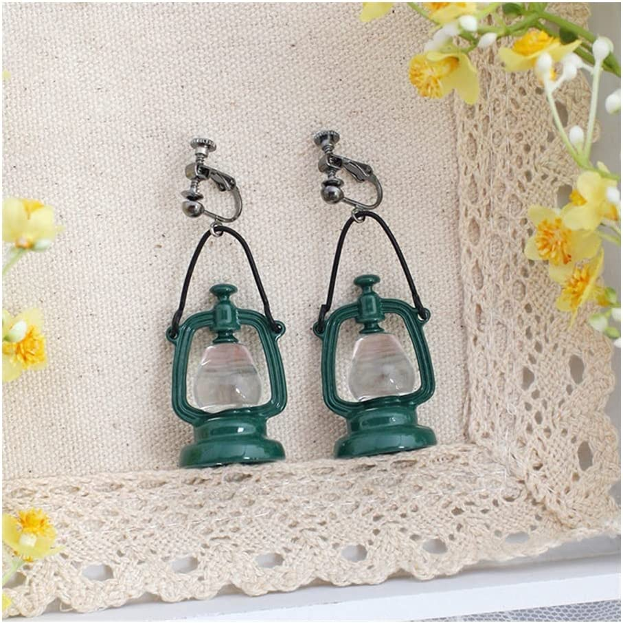 Vintage Dangle Earrings for Women, Creative Retro Green Kerosene Lamp Drop Earrings, Stud Clip-on Earring for Ladies Birthday Party (Color : Clip-on Earring)