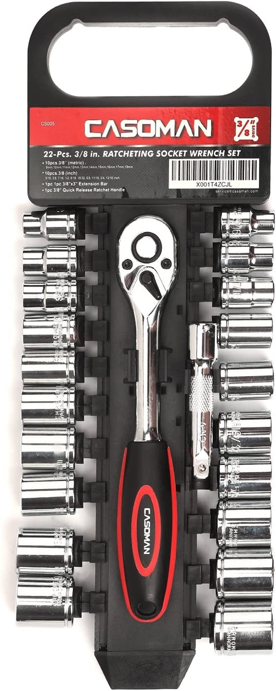 CASOMAN 3 8-Inch Drive Socket Set 5 ☆ popular Purchase with Quick Ratchet Release Wre