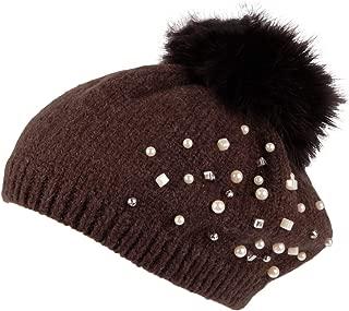 WITHMOONS Knit Pom Pom Beanie Faux Fur Slouchy Winter Women Pearl Hat SLP1234