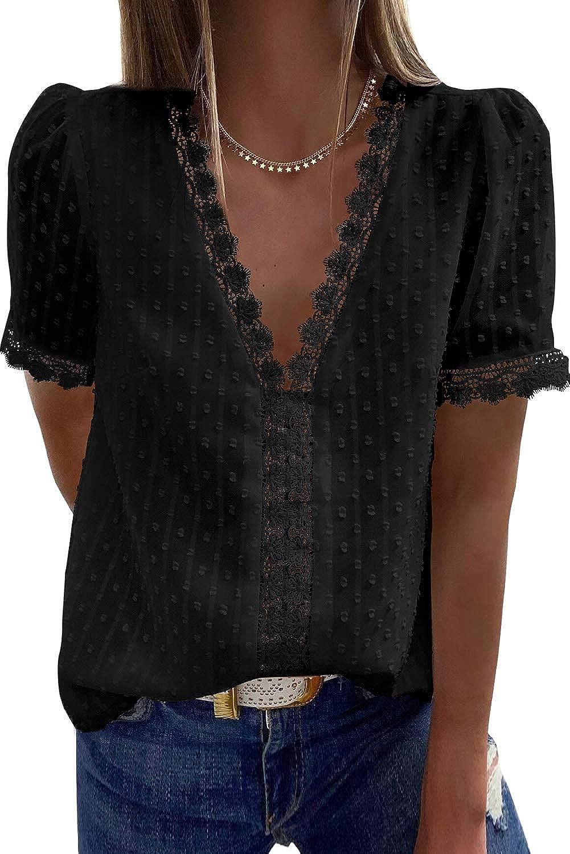 Amkoyam Womens Tops Summer V Neck Lace Tunic Tops Casual Loose Short Sleeve Polka Dot Shirt Blouses