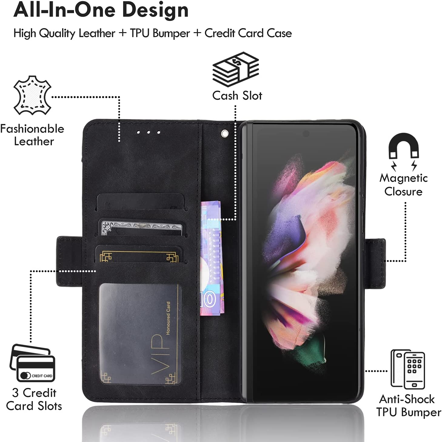 10 Cent Galaxy Z Fold 3 5G Case, Galaxy Z Fold 3 Wallet case, Classic Leather Wallet Foldable Case with Credit Card Holder Slots Flip Wallet Case for Samsung Galaxy ZFold3 5G(Black)