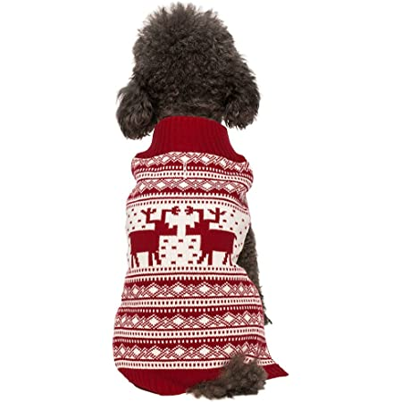 Blueberry Pet 3 Patterns Vintage Holiday Reindeer Dog Sweaters - Matching Dog Scarf, Pet Owner Sweater and Blanket Available Separately
