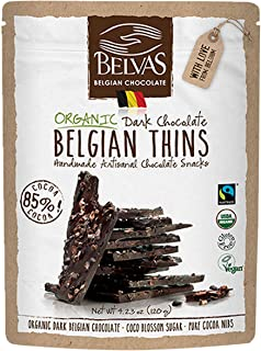 Belvas Belgian Thins Organic Dark Chocolate Snack with 85% Cocoa and Sweetened with Coco Blossom Sugar - Vegan, Gluten Free, Fairtrade, 4.23 oz. Resealable Bag