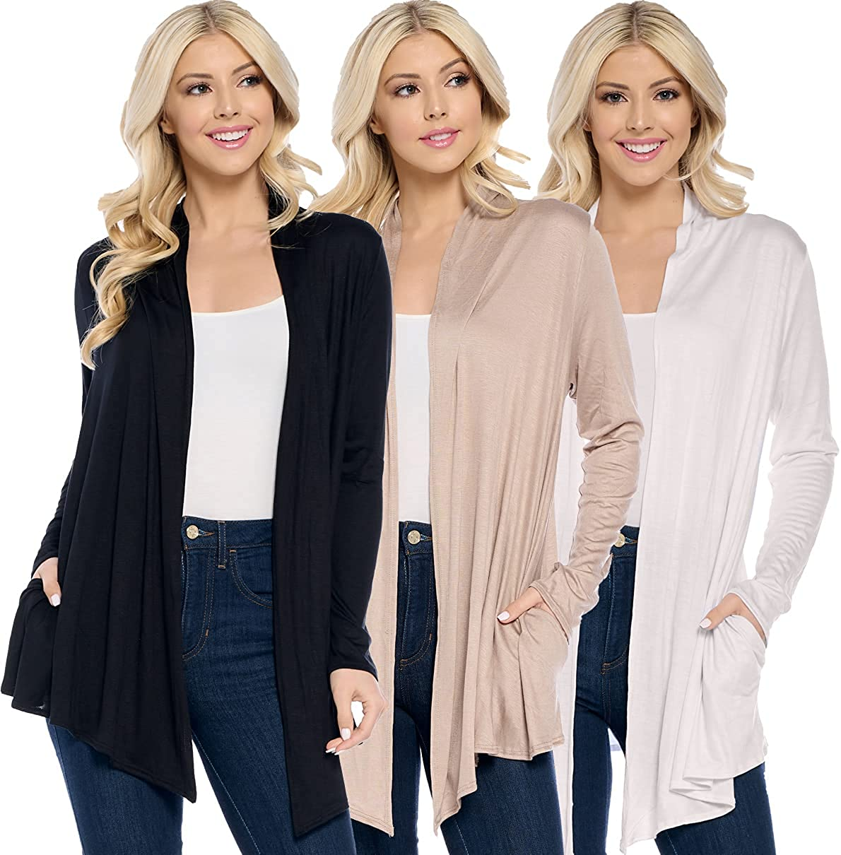 Isaac Liev Womens Cardigan Pack of Lightweight Spring new work Casual Bargain sale 3- Long Sl