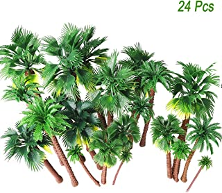 24pcs Mixed Palm Coconut Scenery Model Trees 1.5-5.9 inch, Train Railways Landscape Rainforest Diorama Sand Table Architecture Trees, Cake Topper Gardening Props and DIY Doll House Resin Decoration