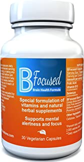 B Focused Brain Health Formula - Enhance Focus, Boost Concentration, Improves Mental Alertness - Brain Focus Pill (30 Cap),Made in USA