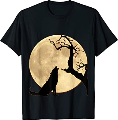 Design #1 Dark Muscle Shirt TooLoud Wolf Howling at the Moon