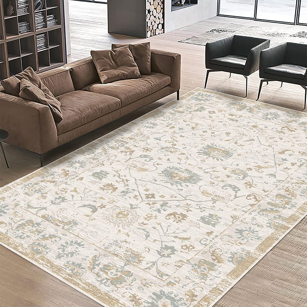 Pajata Distressed Floral Non-Shedding Fresno Mall Stain Resistant Area Cheap Rugs