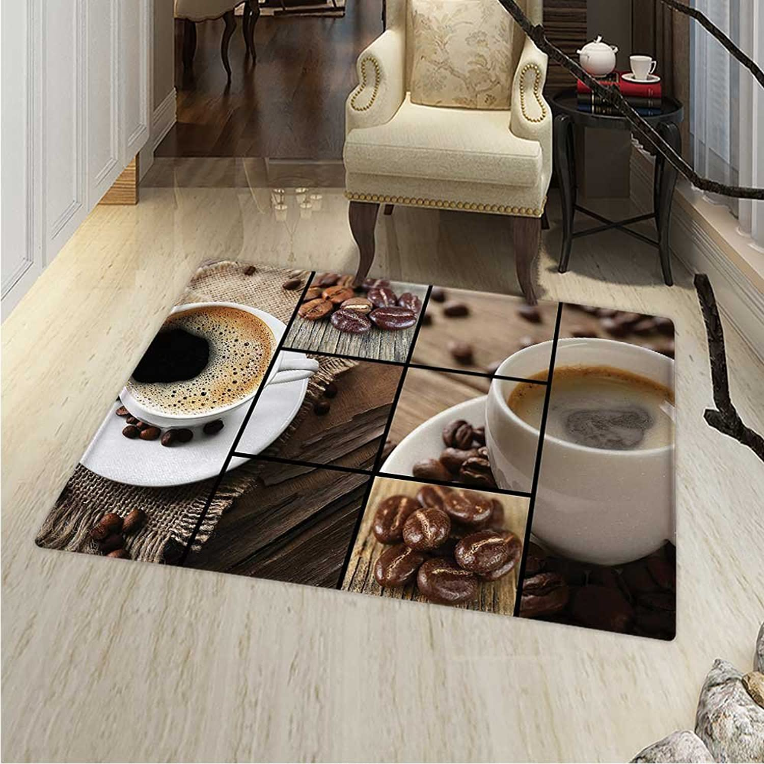 Brown Rug Kid Carpet Coffee Themed Collage Close Up Mugs Beans on Wooden Table Aromatic Roasted Espresso Drink Home Decor Foor Carpe 30 x40  Brown