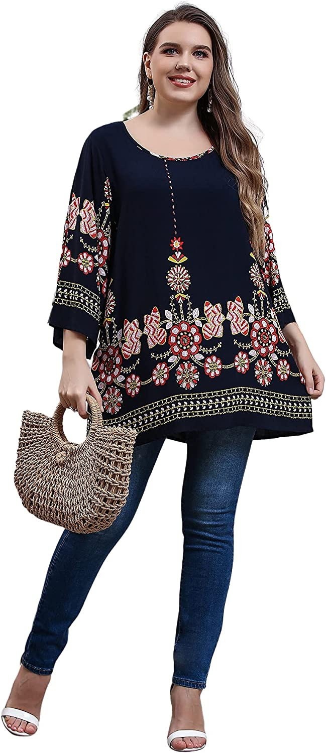 Romwe Women's Plus Size Floral Tunic Shirts Long Sleeve Scoop Neck Blouses Tops