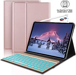 iPad Pro 11 Inch Keyboard Case for iPad Pro 11 2018, 【Support Pencil Charging】 iPad Pro 2018 Leather Wireless Bluetooth Keyboard, Auto Wake/Sleep, Rose Gold