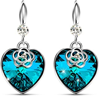 """T400 Jewelers""""Flower Heart"""" Dangle Earrings for Women Fishhook Earrings with Crystals Birthday Gift for Her"""