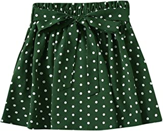SheIn Women's Summer Floral Print Self Belted A Line Flared Skater Short Skirt