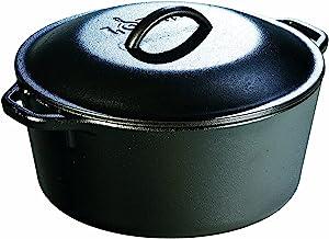 Lodge L8DOL3 Cast Iron Dutch Oven with Dual Handles, Pre-Seasoned, 5-Quart Black
