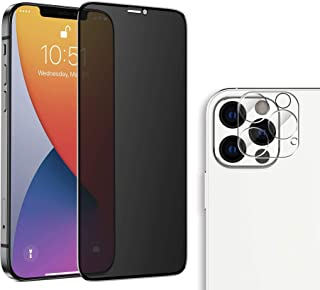 Hileny Privacy Screen Protector iPhone 12 Pro Tempered Glass + Apple 12 Pro Camera Lens Protector Film No Bubble, Fingerpr...