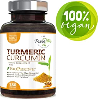 Turmeric Curcumin 95% Highest Potency Curcuminoids 1950mg with Bioperine Black Pepper for Best Absorption, Made in USA, Best Vegan Joint Pain Relief, Turmeric Pills by PureTea - 180 Capsules