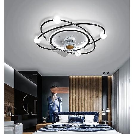 YUNZI Ventilateur Plafond avec Lumiere Et Telecommand, Ventilateur Silencieux Plafond 30M2, Plafonnier Ventilateur Design Plafonnier Lustre Ventilateur Chambre Salon 55CM*15CM 45W,Noir