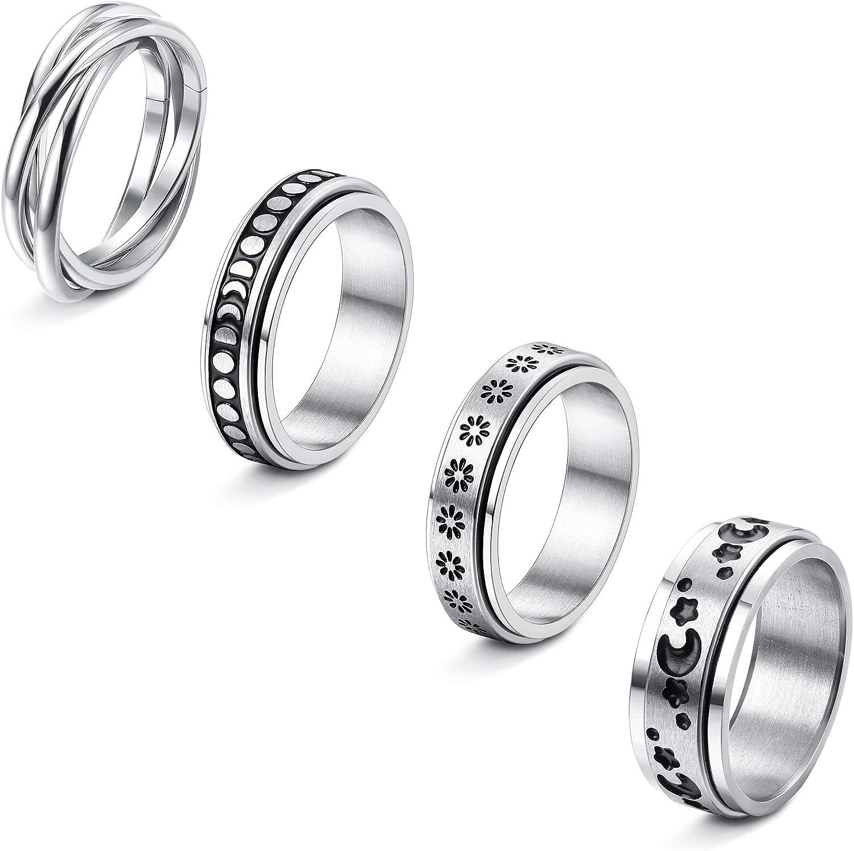 LOYALLOOK 4PCS Stainless Steel Spinner Rings for Women Men Spinner Fidget Band Cool Rings Moon Star Sun Stress Relieving Rings Wedding Promise Rings
