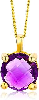 Miore MNA9054N - Ciondolo da donna in oro giallo 9 carati (375), ametista al quarzo 1,5 carati, taglio rotondo, colore: Lilla