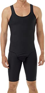 Mens Compression Bodysuit Shaper - Girdle for Gynecomastia Belly Fat and Thighs - No Rear Zipper