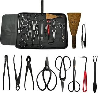 Voilamart 10 Piece Bonsai Tool Kit with Case, Carbon Steel Scissor Cutter Shear Set Garden Plant Tools